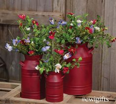 Milk Cans, Patriotic Decorations, 4th Of July, Poppies, Stencils, Planter Pots, Burgundy, Gardening, Canning