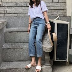 Fashion Summer Outfits Dresses Jeans Ideas For 2019 Spring Fashion Outfits, Summer Dress Outfits, Dress Casual, Fashion Clothes, Korean Fashion Trends, Trendy Fashion, Fashion Ideas, Style Fashion, Korea Fashion