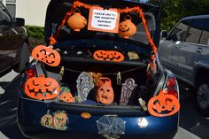 """Our """"Haunted Pumpkin Patch"""" for Trunk or Treat decorating ideas / my trunk last year"""