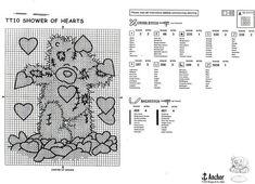 Shower of Hearts Cute Cross Stitch, Cross Stitch Heart, Cross Stitch Patterns, Tatty Teddy, Teddy Bear, Blackwork Cross Stitch, Stitch 2, Friends Forever, Clip Art
