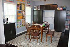 Love this homeschool room! The busy bag storage in the right hand corner is genius and I'm a bit jealous of those cabinets for storage! must have