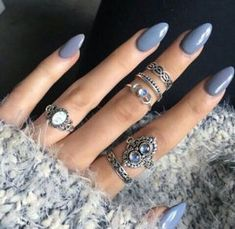 Cute Stiletto Nails With Matte Accents. If you are a passionate lover of a matte finish, have a look at these matte and cute stiletto nails. Classy Stiletto Nail Design this Winter 04 # Grey Acrylic Nails, Gray Nails, Acrylic Nail Designs, Nail Art Designs, Purple Nails, Neutral Nails, Acrylic Gel, Periwinkle Nails, Almond Acrylic Nails