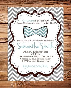 Baby  shower Invitation boy Bow Ties Baby Boy by StellarDesignsPro, @ kristen Nelson only the bow tie in yellow.
