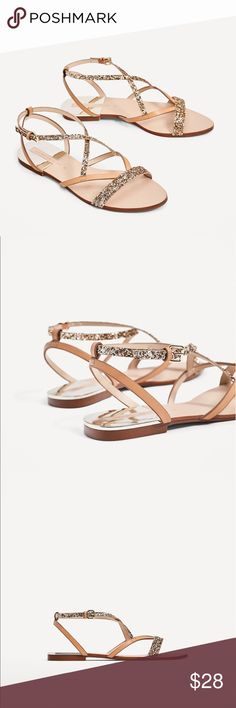 Flat sandals with shiny straps Flat sandals in a natural color,  straps in combination of materials across the instep. metallic trim details. 99% new, have only been worn once. bought in wrong size. Zara Shoes Sandals