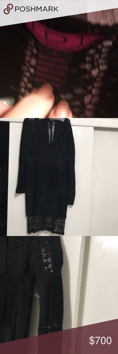 """SBi  Suede & silk crochet Duster. (Long Coat) i Exquisite Black Suede And silk crochet duster coat. Intricate crochet pattern thruout Coat. Buttons covered in crochet. Worn once. Size L. Limited edition. 40"""" from shoulder to Hem . Full 6"""" crochet bottom. Natural markings in Suede no stains or imperfections. Can be worn Day or Evening.  This coat was only produced for  limited sales to 2 High End Luxury Stores. IDI Jackets & Coats"""