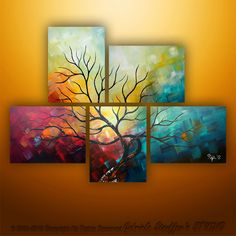 Abstract Modern Landscape Tree Painting Art by Gabriela by Catalin