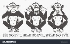 Find Three Wise Monkeys stock images in HD and millions of other royalty-free stock photos, illustrations and vectors in the Shutterstock collection. Monkey Drawing, Monkey Art, Moños Tattoo, Monkey Illustration, Three Wise Monkeys, Monkey Tattoos, Sibling Tattoos, Fairy Art, Ideas