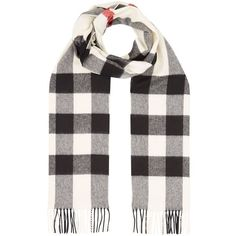 Burberry Cashmere Check Scarf (695 CAD) ❤ liked on Polyvore featuring accessories, scarves, cashmere shawls, cashmere scarves, woven scarves, burberry and checkered scarves