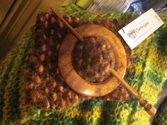 Hand-made wood shawl pins
