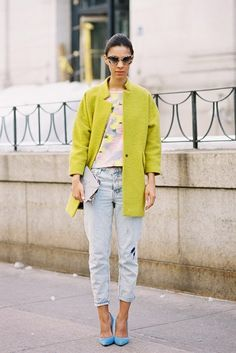 Lime green jacket with pale blue denims and sky blue shoes ~ striking combo! http://fancytemplestore.com