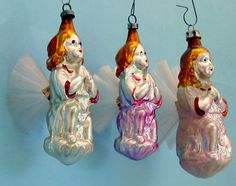 Vintage Glass Christmas Ornaments, Angels With Spun Glass Wings.