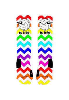 Volleyball Socks Volleyball is Life Rainbow by NikkisNameGifts, $25.00