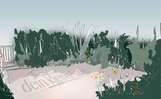 Skizze, handgezeichnet, coloriert, Perspektive in kleinen Wohnzimmer-Garten mit zentraler Terrasse und umlaufenden Beeten Sketch, Lawn, Perspective Photography, Porches, Living Room