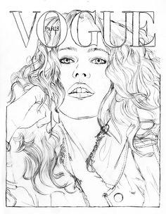 Claudia Schiffer par Mario Testino pour Vogue Paris - illustration de Cédric Rivrain