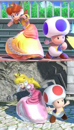 Super smash bros ultimate Peach and Daisy Super Mario Smash, Super Mario Art, Super Smash Bros Memes, Nintendo Super Smash Bros, Mario And Luigi, Mario Bros, Nintendo Princess, Princesa Peach, Princess Daisy