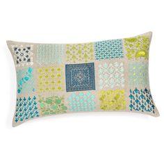 Cojín de algodón azul/verde 30 x 50 cm MAI