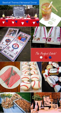 Baseball themed party ideas such as table decor, favors, food