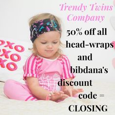 we are closing tomorrow night! Don't miss your chance to stock up! 50% off all head-wraps and bibdana's! Discount code = CLOSING