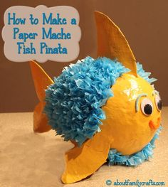 Paper Mache Pinata Fish Discover how easy it is to make a pinata using paper mache. This cute fish pinata would be great for an animal ocean or beach themed party. The post Paper Mache Pinata Fish was featured on Fun Family Crafts. Paper Mache Crafts For Kids, Paper Mache Projects, Paper Crafts, Craft Projects, Paper Mache Pinata, Paper Mache Sculpture, Fun Craft, Craft Ideas, Decor Ideas