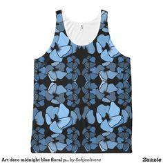 Art deco midnight blue floral print tank top  #clothing #tanktop #pattern #surfacedesign #surfacepattern #floralprint #botanicaltheme #giftsforher #tops