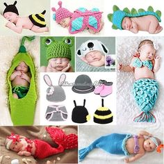 Cute Newborn Baby Aminal Photography Photo Prop Knitted Beanie Suit Outfit C1MY