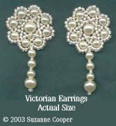 VICTORIAN PEARL EARRINGS  This pair of Victorian style earrings was inspired by the beautiful jewelry of Queen Victorias era. I made them using 4mm and 6mm white glass pearls. These will be perfect for a BRIDE! Glass pearls come in many colors so you can choose which best suits you. If you are lucky enough to have some real pearls they would make truly outstanding earrings. Large charts with bead-by-bead instructions are given so the earrings are very easy to make.