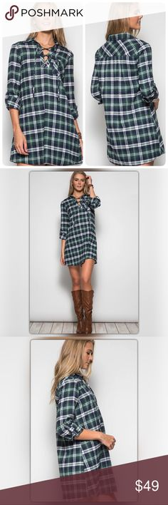 "Green Plaid Lace Up Front Shift Dress Convey effortless style with this green plaid dress! This dress is so versatile, you can pair it with almost anything. It has a roll-up sleeve and a swing fit. It is made of 70% cotton and 30% polyester. The model is 5' 11"". The NEW Boutique Dresses"