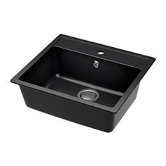 IKEA HÄLLVIKEN Inset sink, 1 bowl Black/quartz composite 56 x 50 cm 25 year guarantee. Read about the terms in the guarantee brochure. Kitchen Mixer Taps, Kitchen Sink Faucets, Fitted Cabinets, Steel Seal, Inset Sink, Apron Front Sink, Composite Sinks, Double Bowl Sink, Ikea Family