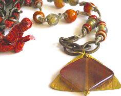 Trendy Chain Necklace Orange Boho Necklace Rustic by BayMoonDesign