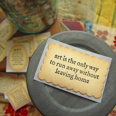 Items similar to Hand Stamped Stickers- ART quotes on Recycled Paper on Etsy