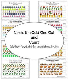 Circle the odd one out and count (fruits, vegetables, clothes, accessories, food, drinks) from Tatiana80 on TeachersNotebook.com -  (7 pages)  - This task asks pupils to identify and circle the odd picture in each row, to count the objects and write the number. 14 cards (fruits, vegetables, clothes, accessories, food, drinks)