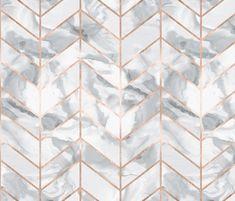 Carrera Marble Herringbone / Rose Gold Gilt fabric by willowlanetextiles on Spoonflower - custom fabric