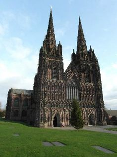 Lichfield Cathedral - Saxon church on the site from 1085 which was replaced by a Norman Cathedral then by a Gothic Cathedral begun in 1175.