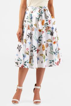 feminine floral and butterfly print crepe skirt.