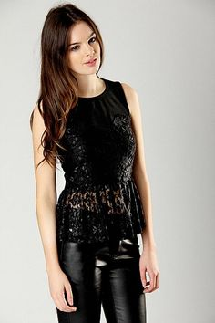 Cody Jersey And Lace Peplum Top by  Boohoo