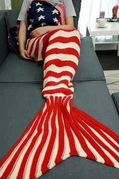 $26.05 Stars and Stripes Pattern Knitting Mermaid Tail Blanket