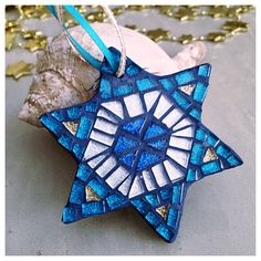 Chanukah Gifts,  Hanukkah Decoration, Star of David, Chanukah Mosaic Ornaments, Sapphire Blue Teal Hanukkah
