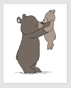 Woodland Nursery Art - Safe In My Arms - Mama and Baby Bear