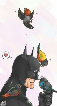 Bruce Wayne (Batman), Dick Grayson (Nightwing), Jason Todd (Red Hood), Tim Drake (Red Robin) and Damian Wayne (Robin) Nightwing, Batgirl, Batwoman, Marvel Fanart, Marvel Dc Comics, Batman Robin, Batman Art, Gotham Batman, Funny Batman