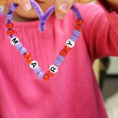 Beaded name heart valentine craft - great for fine motor skills, learning math patterns, and name work!