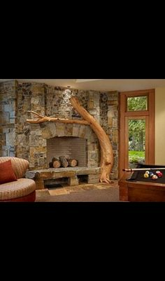 Tree fire place mantel Wood Storage, Built In Storage, Storage Spaces, Built In Around Fireplace, Fireplace Mantels, Fireplaces, Firewood, Building, Painting