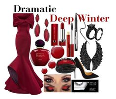 Dramatic-Deep Winter by prettyyourworld on Polyvore featuring Zac Posen, Christian Louboutin, Plukka, Blu Bijoux, Marc Jacobs, Kevyn Aucoin, Sephora Collection, Christian Dior, Topshop and women's clothing