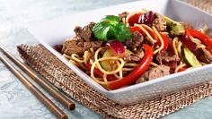 En smakfull og mettende middagssalat med storfekjøtt og fullkornspagetti. Husk at storfekjøtt er rikt på jern. Jo rødere kjøtt, jo mer jern!