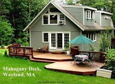 Two Level backyard deck in Wayland, MA. nice wood. interesting broad shapes