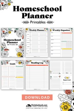 Featuring over 15 reproducible forms, this PDF planner download is designed to help you keep everything you need all in one place. It also contains ten simple reminders we hope will sever as encouragement for you in your day-to-day homescshool life. This download includes: - 2021 & 2022 calendar-at-a-glance pages - PDF planner pages for Monday-Friday, for use with any year/grade/subject - Hourly schedule - Attendance tracker - Report card - Reading log - Field trip log form - And more! Student Planner Printable, School Planner, Teacher Planner, Class Planner, Hourly Planner, Homeschool High School, Homeschool Curriculum, Homeschooling, Attendance Tracker