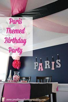 One mom's fantastic Paris theme birthday party on a budget! Paris Themed Birthday Party, Spa Birthday Parties, Paris Party, Slumber Parties, Birthday Party Themes, Girl Birthday, Bachelorette Parties, Birthday Ideas, 11th Birthday