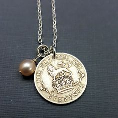 Silver Sixpence necklace Coin necklace by FindsAndFarthings
