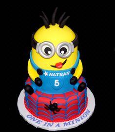 Minion and Spiderman cake