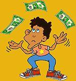 Kid juggling dollar bills