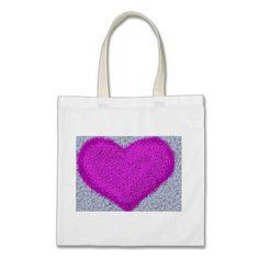 Fuchsia Polka-Dot Heart Tote Bag.  $9.95